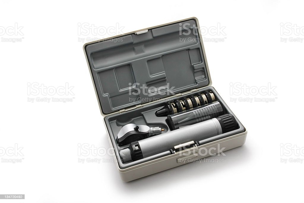 Otoscope set.... medical device used to look into the ears stock photo