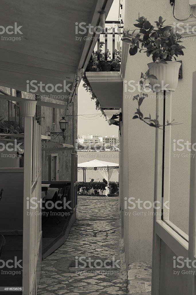 Otranto street - Mediterranean Sea, Puglia, Italy stock photo
