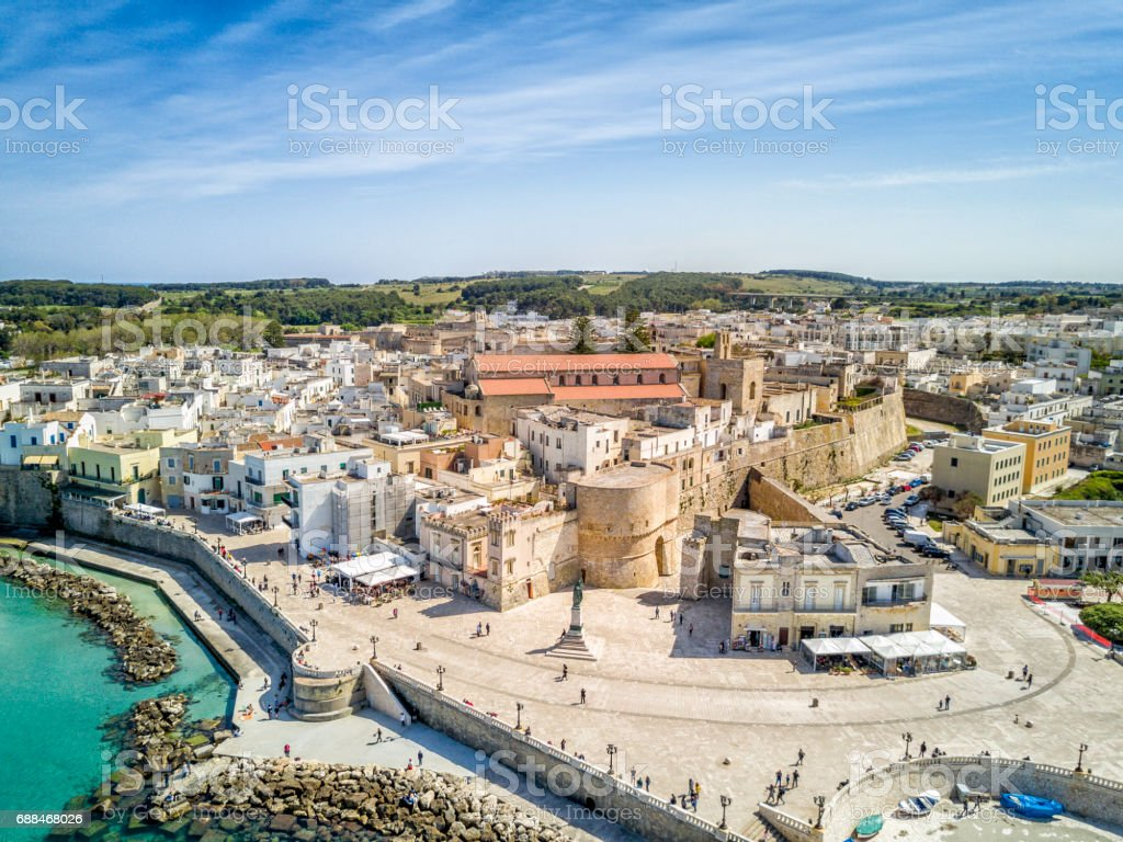 Otranto with Aragonese castle, Apulia, Italy stock photo