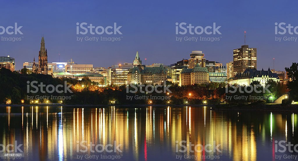 Ottawa at night stock photo