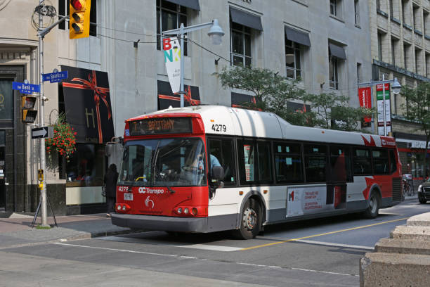 Ottawa Bus on Bank Street in Canada's National Capital Region stock photo