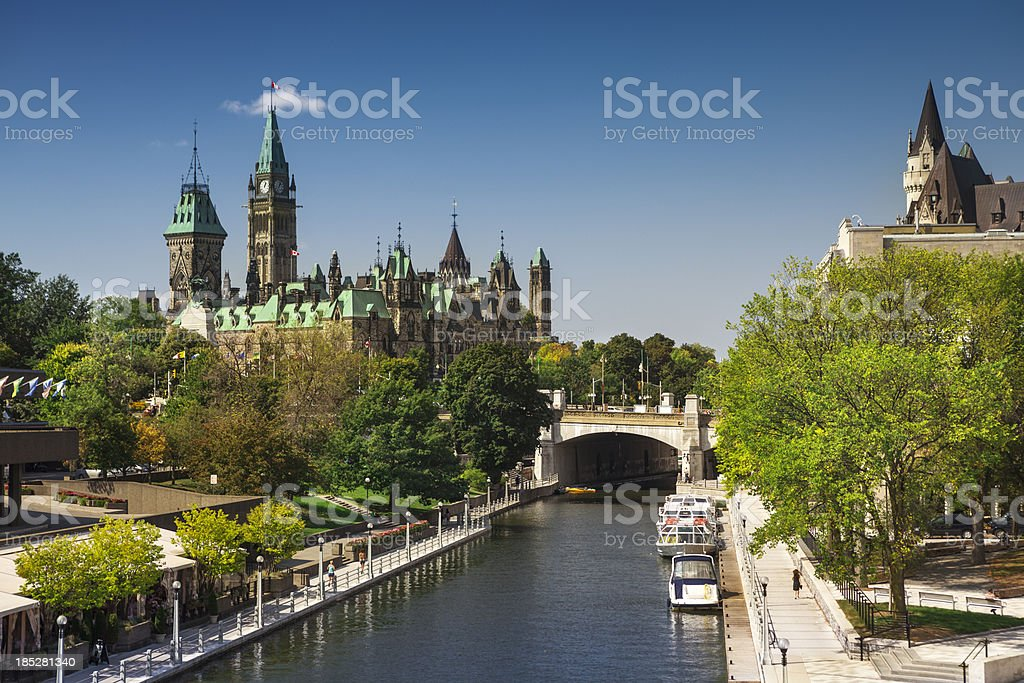 Ottawa city street and Rideau Canal stock photo