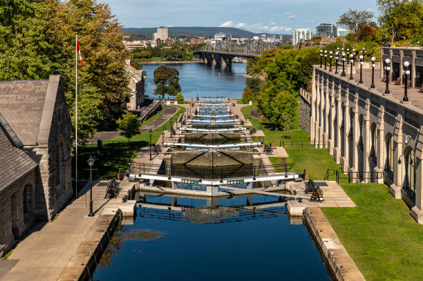 Ottawa Locks of the Rideau Canal, Canada stock photo