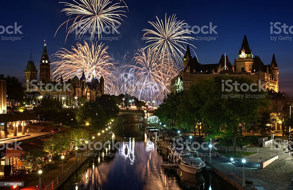 Ottawa Ontario Canada Fireworks stock photo