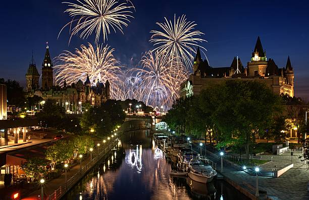 ottawa ontario canada fireworks - canada parliament stock photos and pictures