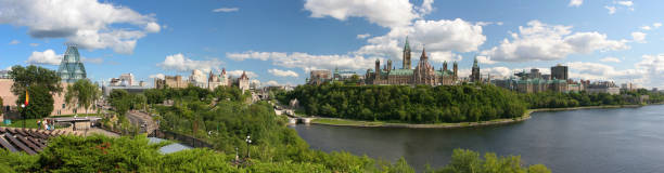 ottawa panoramic landscape - canada parliament stock photos and pictures