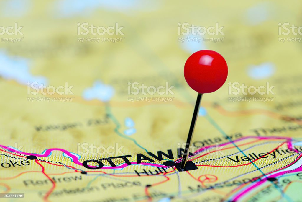 Ottawa Map Of Canada.Ottawa Pinned On A Map Of Canada Stock Photo More Pictures Of 2015
