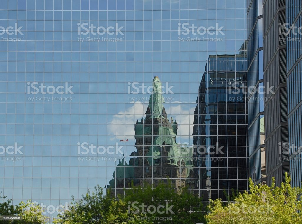 Ottawa Reflection, Parliament Hill royalty-free stock photo