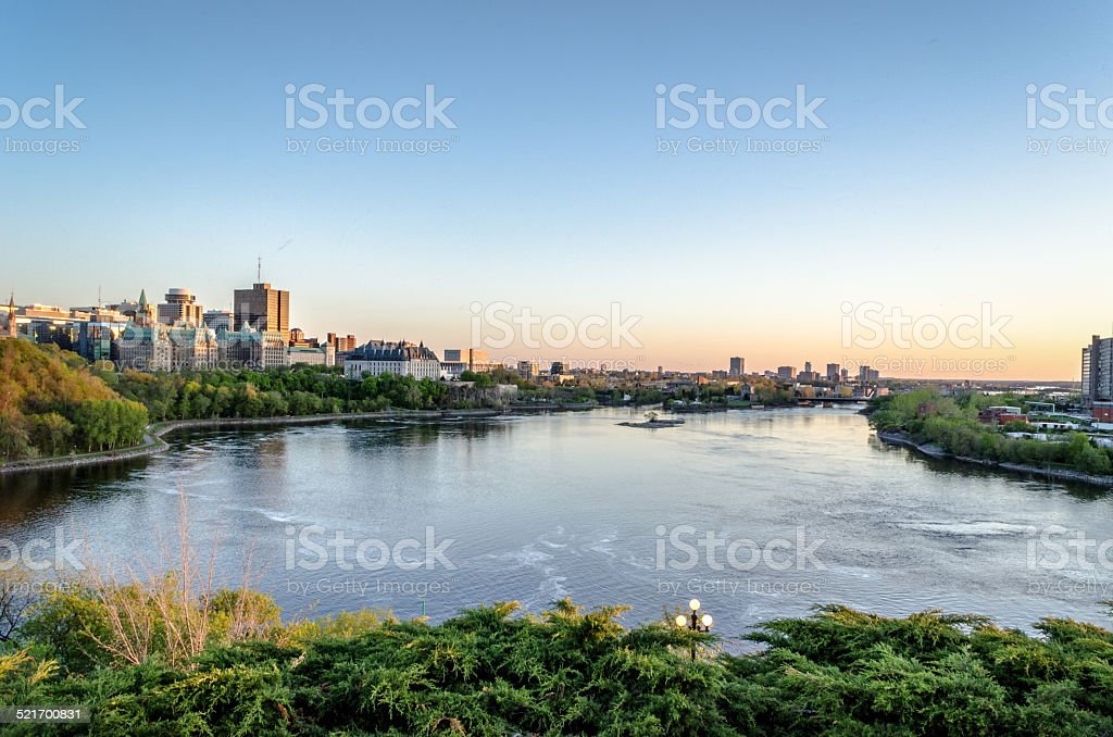 Ottawa River and the Supreme Court from Nepean Point stock photo