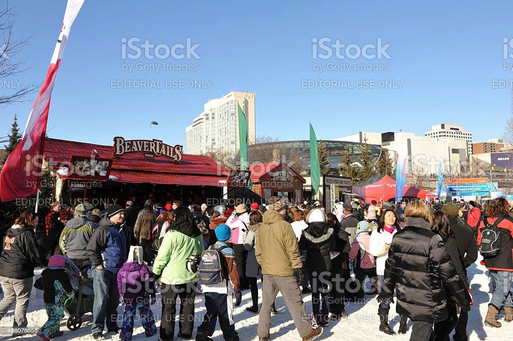 Ottawa Winterlude with local kiosks stock photo