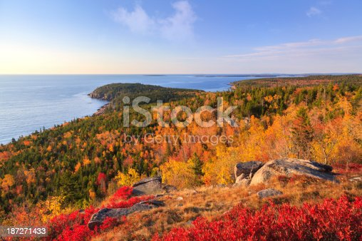 An early morning Autumn view of Otter Point from the top of Gorham Mountain; Acadia National Park, Maine.