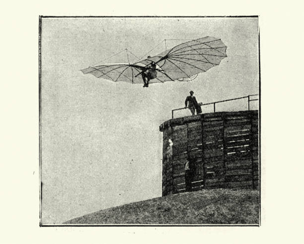 Otto Lilienthal's flying machine, glider, 1890s, 19th Century stock photo