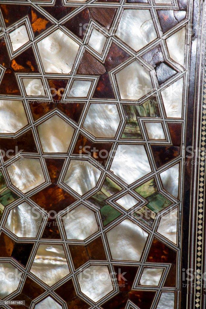 Osmanische Kunst Mit Geometrischen Mustern Auf Holz Stock Fotografie