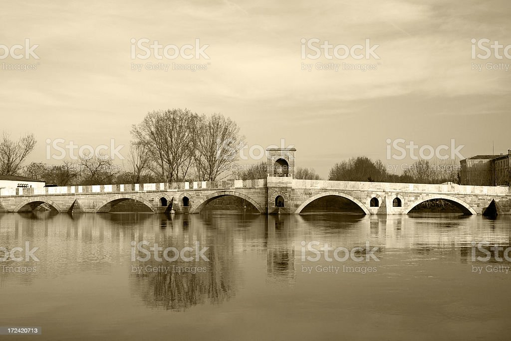 Ottoman Bridge in Edirne royalty-free stock photo