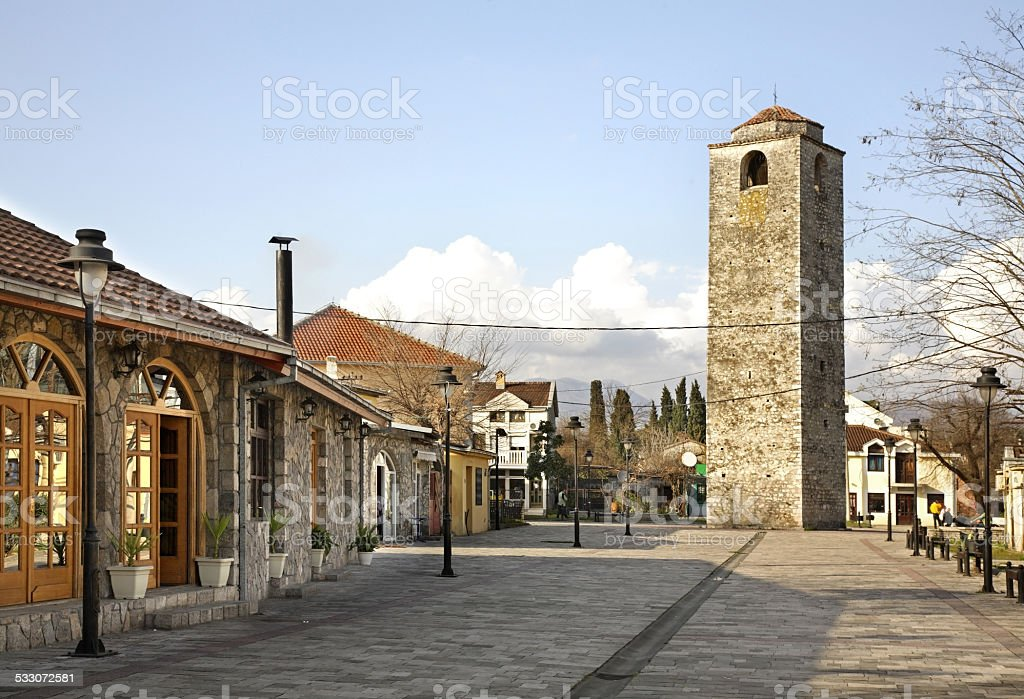 Ottoman clock tower in Podgorica. Montenegro stock photo