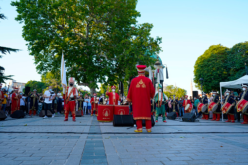 Ottoman Mehter Band Mini Consert in Sultanahmet Square in Istanbul, Turkey. July 10, 2021