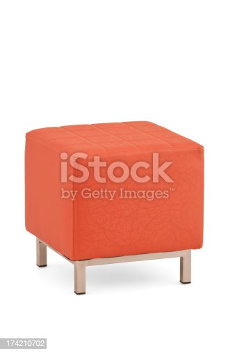 Upholstered Cube Ottoman,Textile, Leather,Isolated on White with Clipping Path