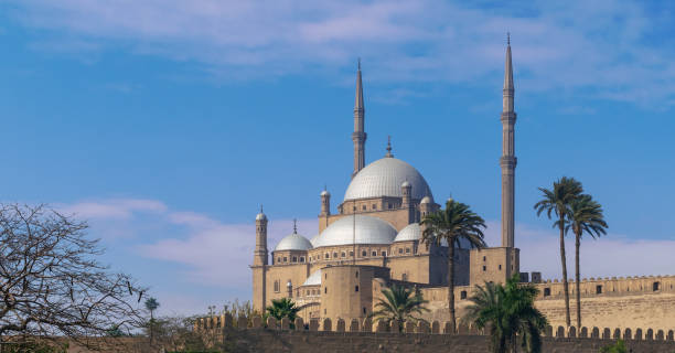 Ottoman style Great Mosque of Muhammad Ali, Citadel of Cairo, commissioned by Muhammad Ali Pasha, Cairo, Egypt stock photo