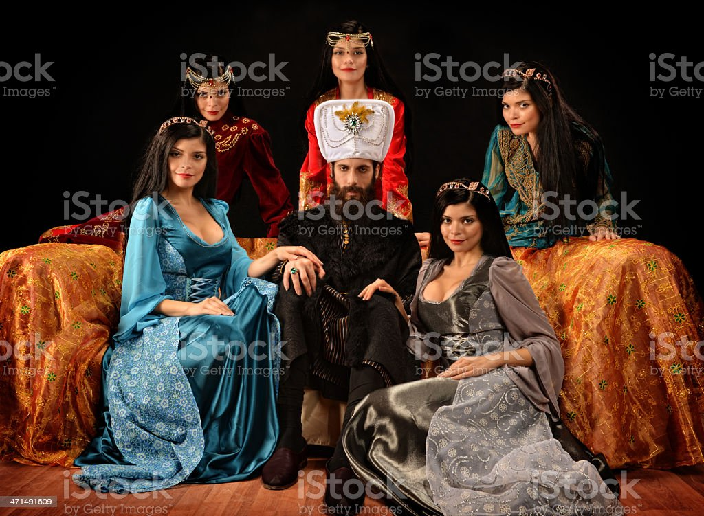 Ottoman sultan and princesses stock photo