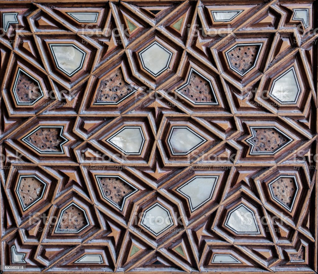 Ottoman Turkish  art with geometric patterns on wood stock photo
