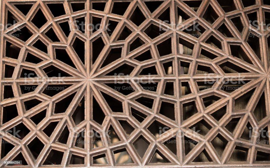 Osmanischen Turkisch Kunst Mit Geometrischen Mustern Auf Holz Stock