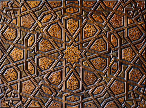 Ottoman Turkish  art with geometric patterns stock photo