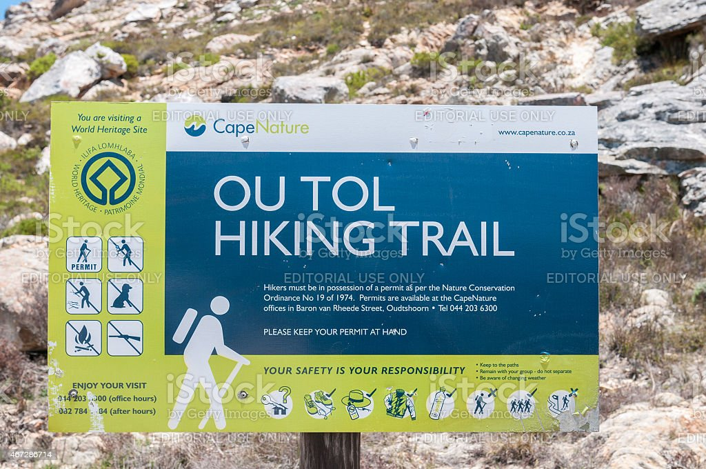 Ou Tol Hiking Trail sign in the historic Swartberg Pass stock photo