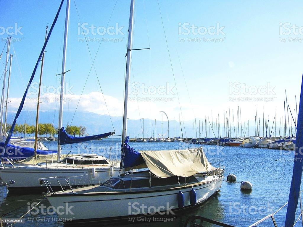 Ouchy, Geneva Lake under blue sky in Switzerland royalty-free stock photo