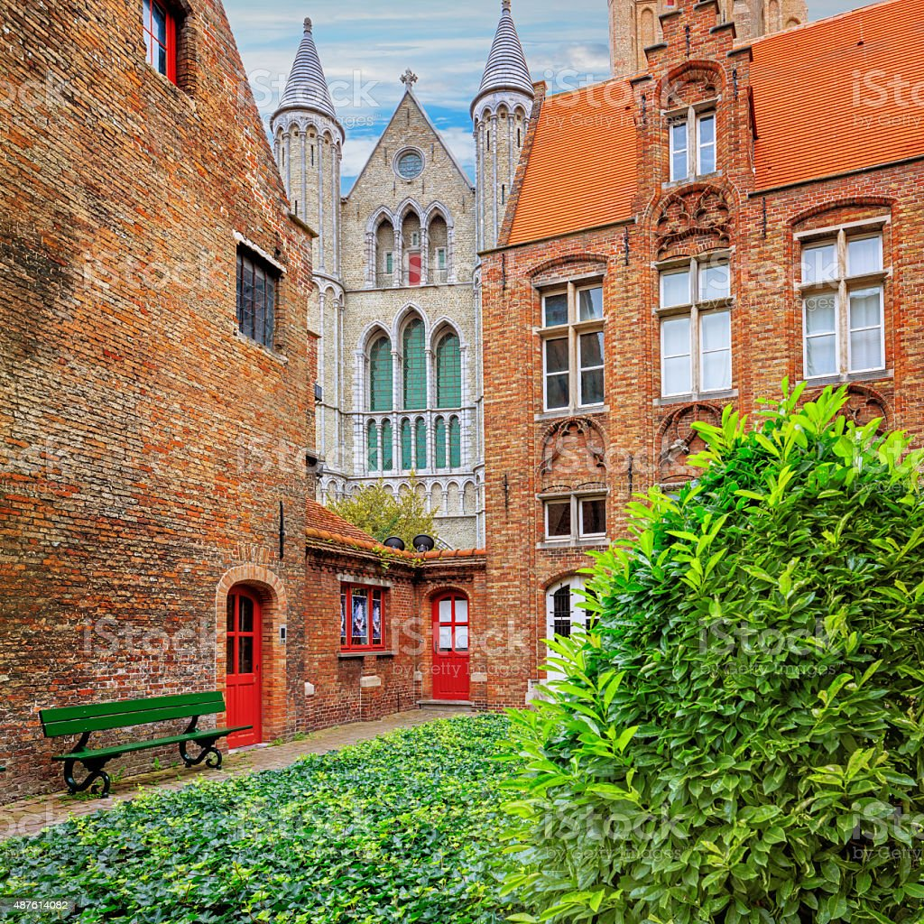 Oud Sint Janshospitaal and Church of Our Lady stock photo