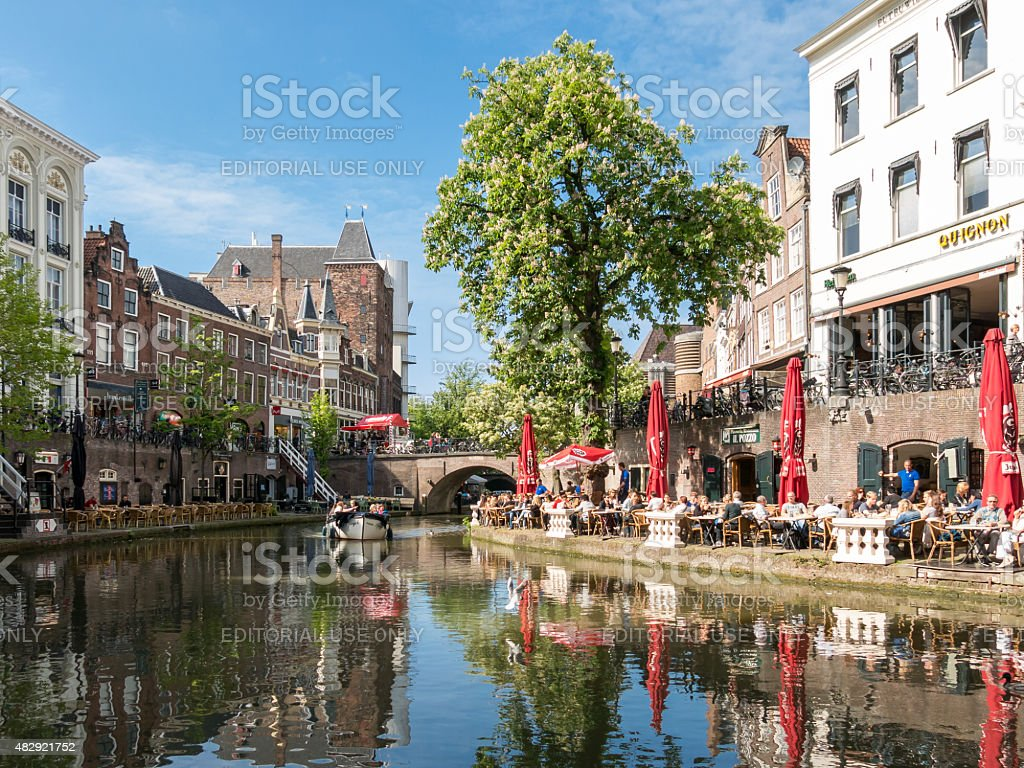 Oudaen Castle and Oudegracht canal in Utrecht, Netherlands stock photo