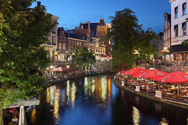 Oude Gracht in Utrecht stock photo