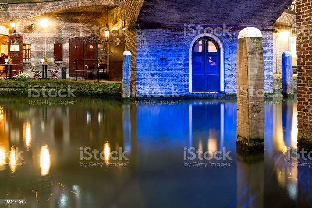 Oudegracht by night in Utrecht, Netherlands stock photo