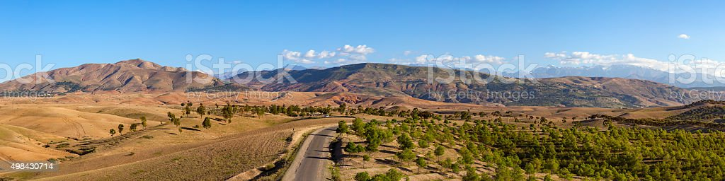 Oued Nfis valley and Atlas Mountains Panorama stock photo