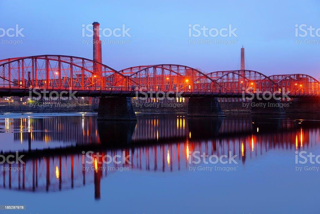 Ouellette Bridge in Lowell stock photo