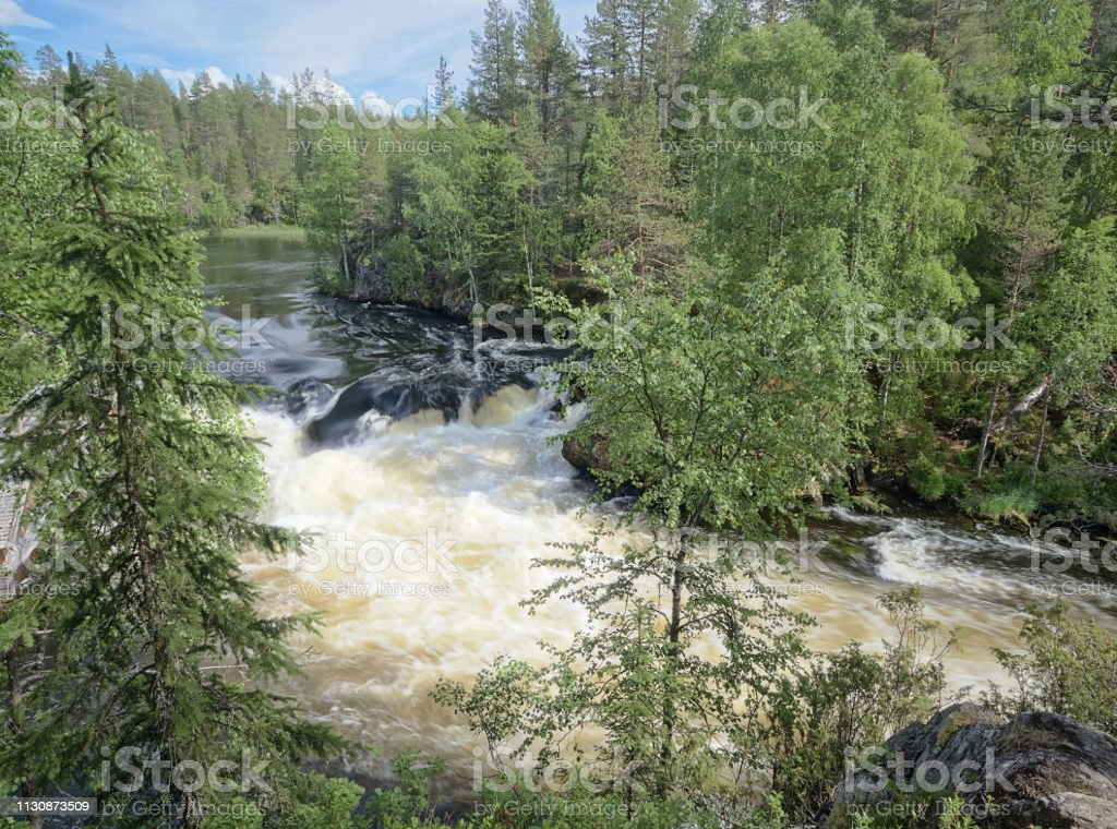 Oulanka river and the fast-moving rapids at the Oulanka National Park stock photo