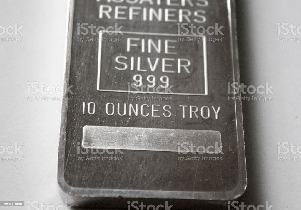 10 Ounce Silver Bar Close Up stock photo