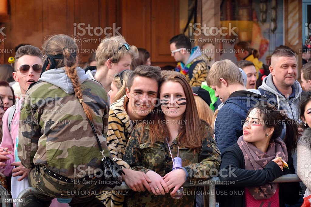 Сouple in love at the carnival stock photo