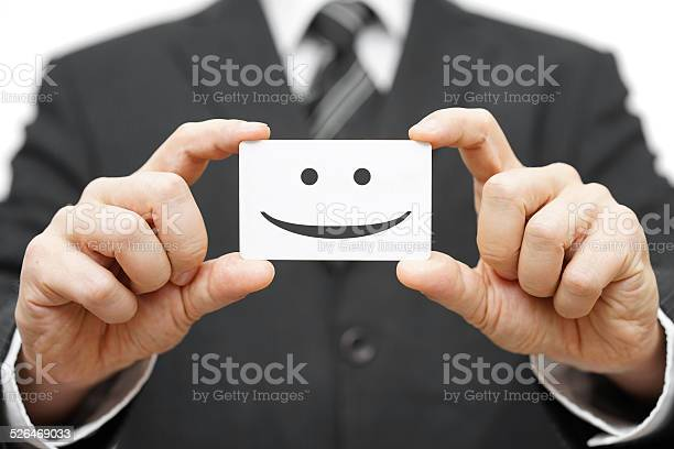 Our Clients Are Happy Clients Smile On Business Card Stock Photo - Download Image Now