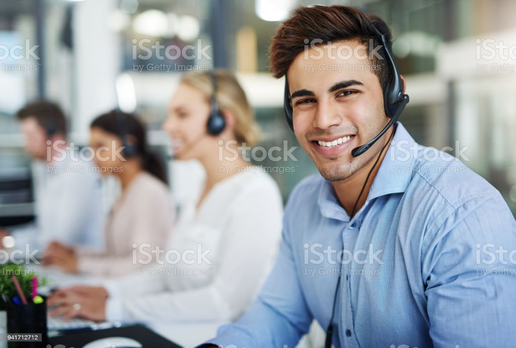 Our contact centre consultants are 100% customer focused stock photo