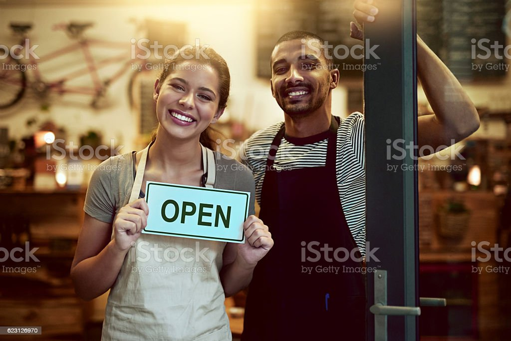 Our doors are open for your daily caffeine fix stock photo