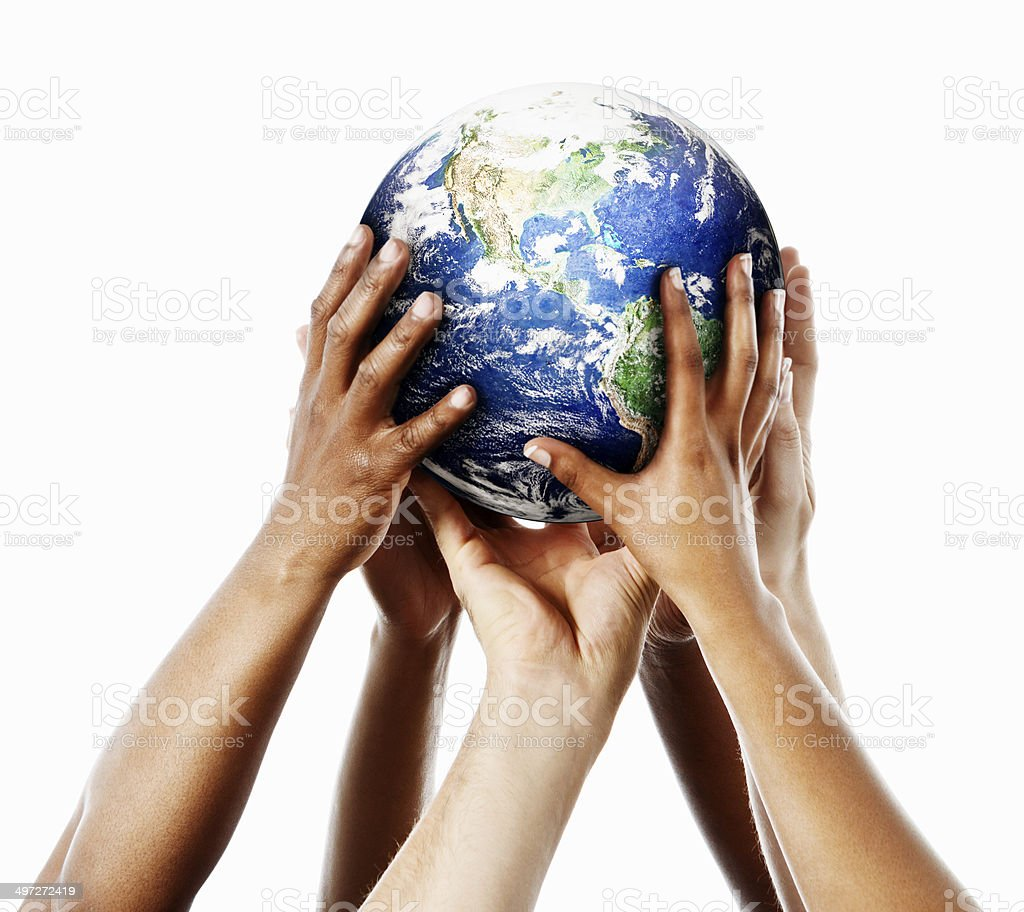 Our Earth, our responsibility: hands cradle satellite image gently stock photo