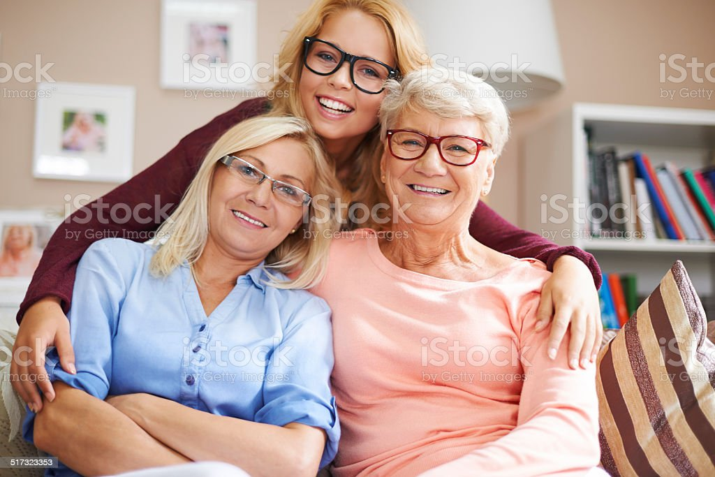 Our family likes wear glasses stock photo