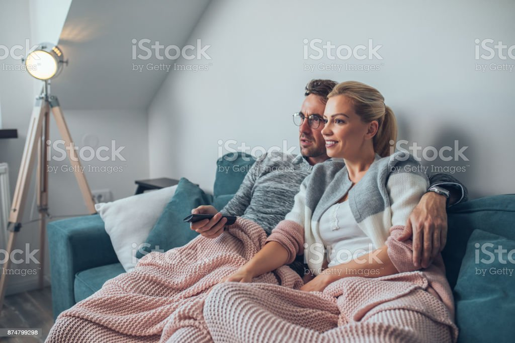 Our favorite tv show is just about to start stock photo