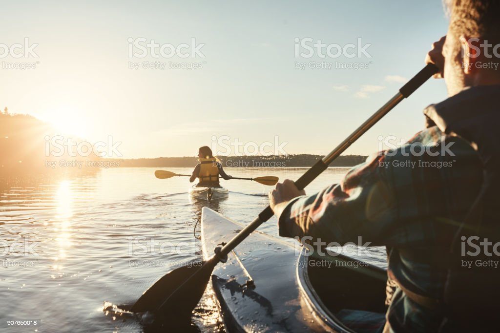Our favourite lake to kayak on stock photo