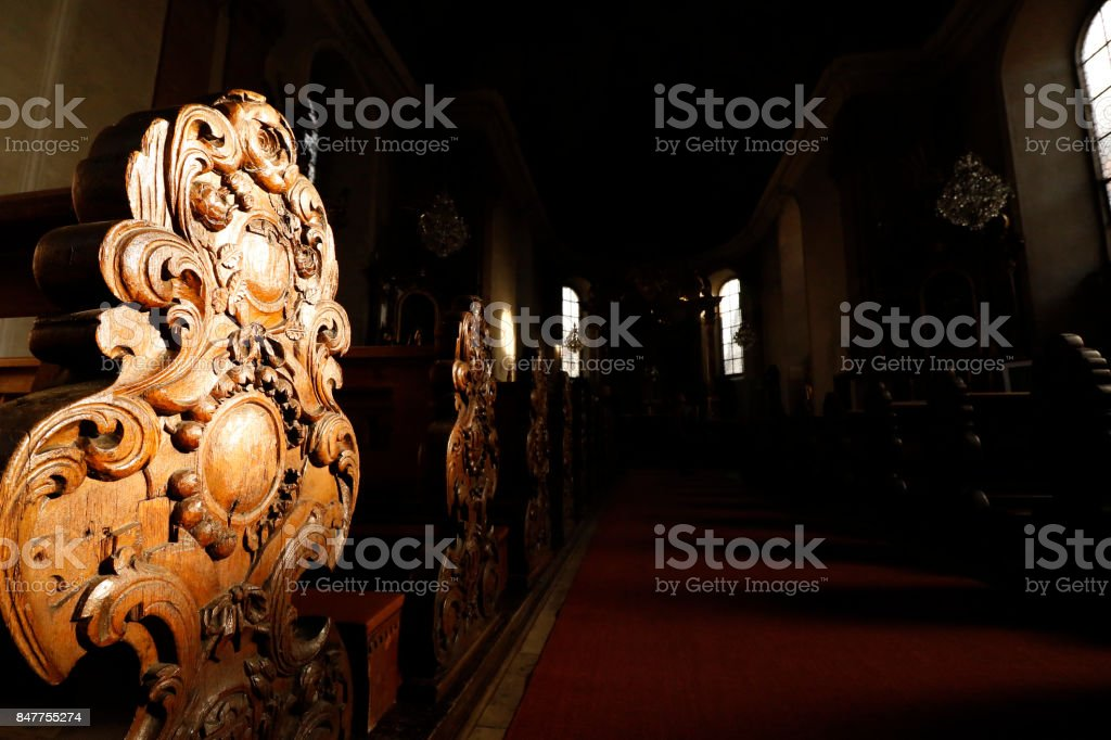 Our Lady Church Germany European building interior wooden pew bench holy Christ windows stock photo