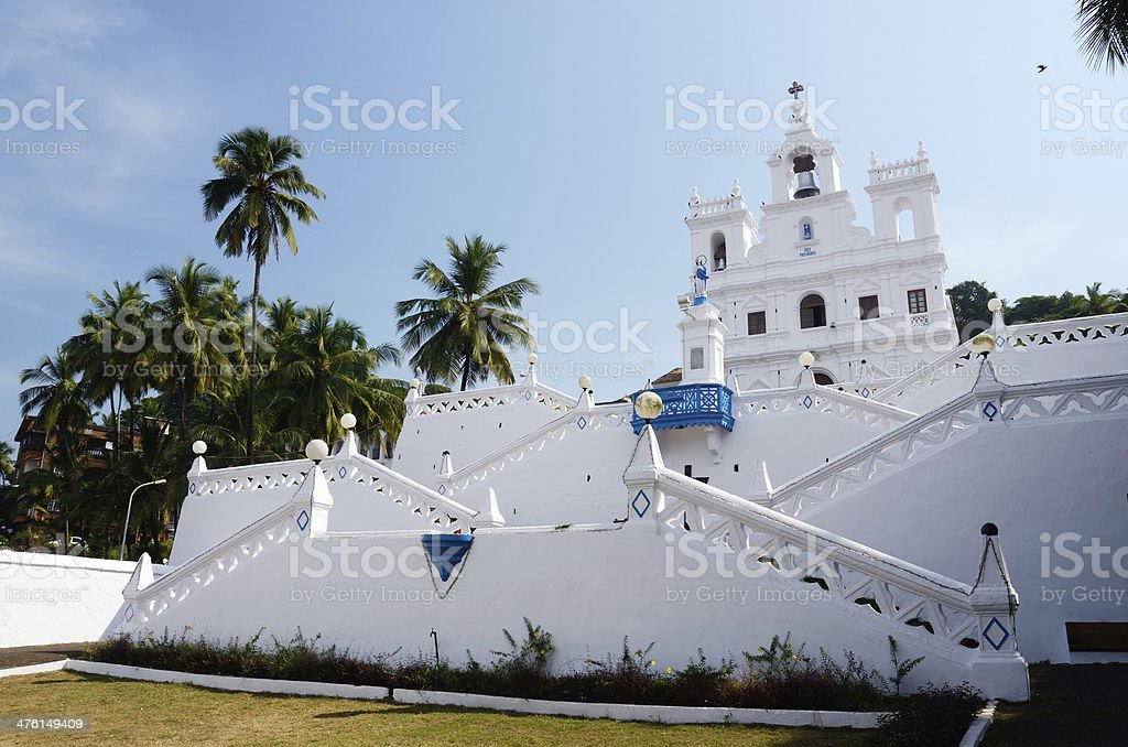 Our Lady of Immaculate Conception Church,North Goa,Panaji,India stock photo