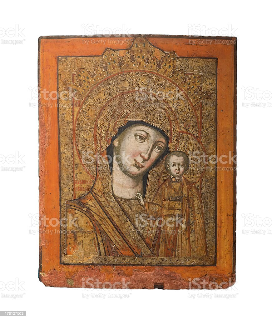 Our Lady of Kazan holy icon, 19th century stock photo