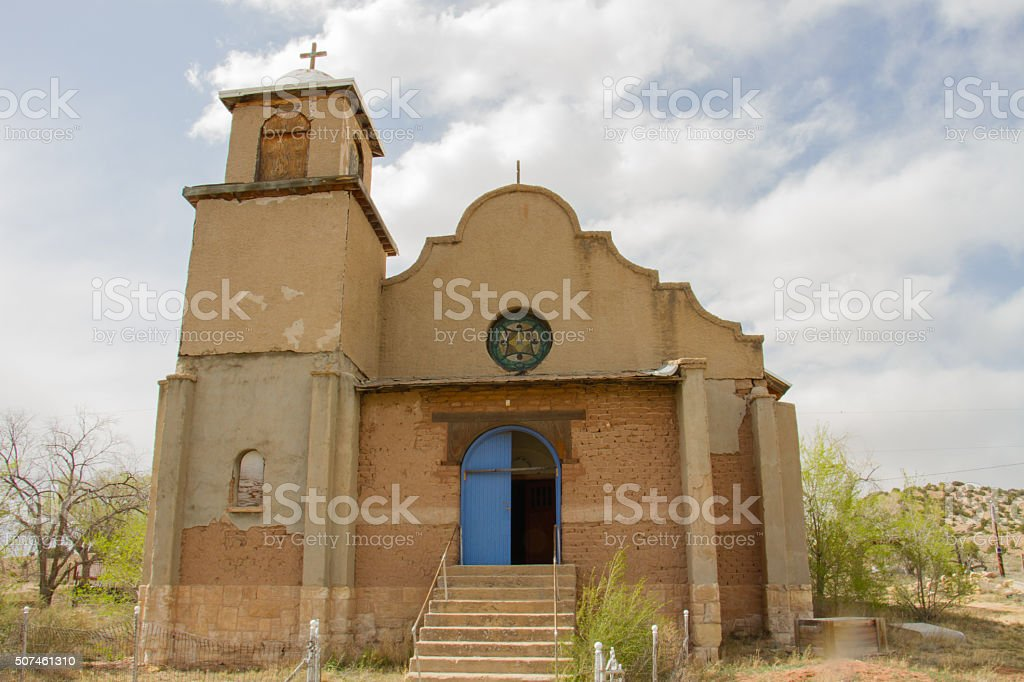 Our Lady of Light Chapel in Lamy, New Mexico stock photo