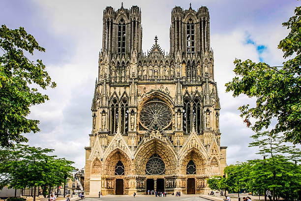 Our Lady of Reims Cathedral in Reims, France stock photo