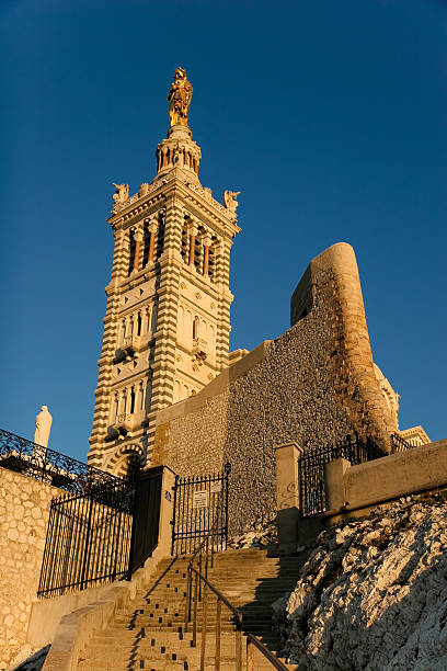 Notre-Dame de la Garde in sunset stock photo